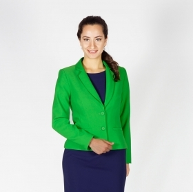 Elegant Ladies Jacket In Attractive Green With Lining And Long Sleeves 80704