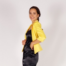 Official Women's Short Satin Yellow Jacket With Three-quarter Sleeves 80706