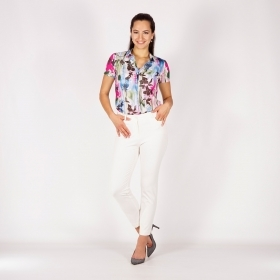 Sporty Elegant Style White Trousers With Outer Back Pockets 60513