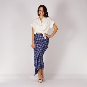 Long Asymmetrical Ladies Checked Dark blue and White Skirt With Genuine Leather Belt 40375