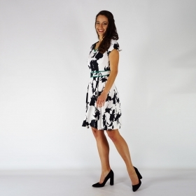Elegant Ladies Black and White Printed Cotton Satin Short - Sleeved Dress 20710