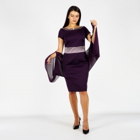 Formal Women's Dark Purple Dress With Satin Details and Short Sleeve 20769
