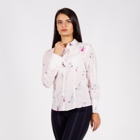 Elegant Ladies White Viscose Shirt  With Cute Print Of Fashion Girls 30243