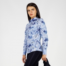 Elegant Women's Printed Light Blue Fine Cotton Shirt 30244