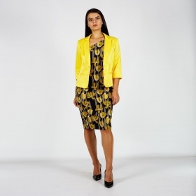 Elegant Women's Suit Composed of Yellow Satin Jacket And Yellow Tulips Printed Dress  80706-20753