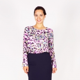 Elegant Women's Viscose Printed  Blouse in White, Green, Purple, Yellow, Gray 10890