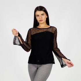 Elegant Women's Black Net Blouse with Jersey Lining 10891