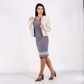 Women's Formal Suit Composed of Cream Boucle Jacket and Gray Dress with Lace 80720-20772