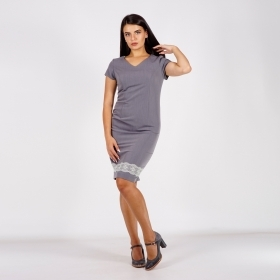 Women's Formal Gray Dress With Pale Green Lace 20772