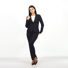 Elegant Women's Black Striped Pant Suit Slim Fit 80707-60520