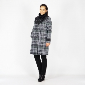 Women's Quilted Checked Boucle Wool Coat with Lace and Removable Collar