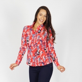 Women's Printed Red Cotton Shirt 30250