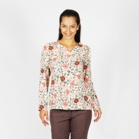 Women's Viscose Floral Printed Beige Blouse 10895