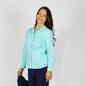 Elegant Women's Cotton Long - Sleeved Shirt In Mint Green Color With Contrast Placket 30226