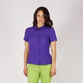 Sporty - Elegant Ladies Viscose Short - sleeved Shirt In Dark Purple 30238