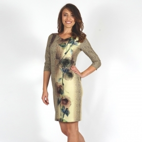 Elegant Women's Floral Printed Jersey Dress 20646